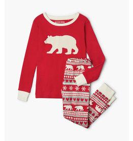 Bear Fair Isle Kids Applique Pajama Set