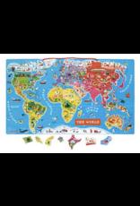 Janod Magnetic World Puzzle Map - English