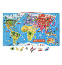 Janod Magnetic World Puzzle Map - English