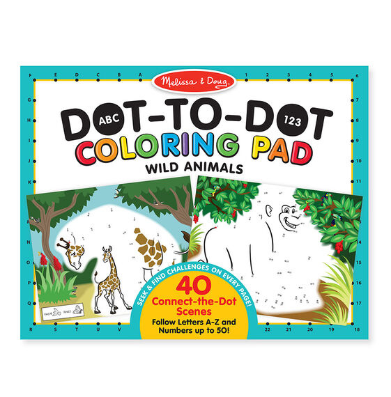 Dot to Dot Colouring Pad - Wild Animals