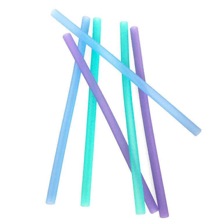 GoSili Silicone Straws 6pk - Ombre Blue