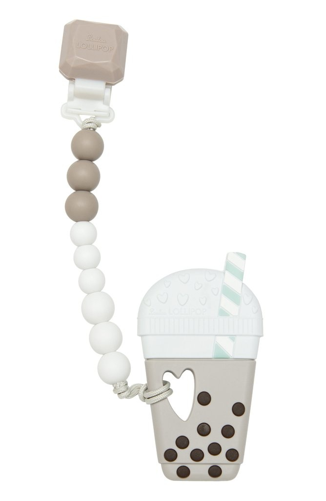 Loulou Lollipop Silicone Teether GEM Set - Milk Tea Bubble Tea