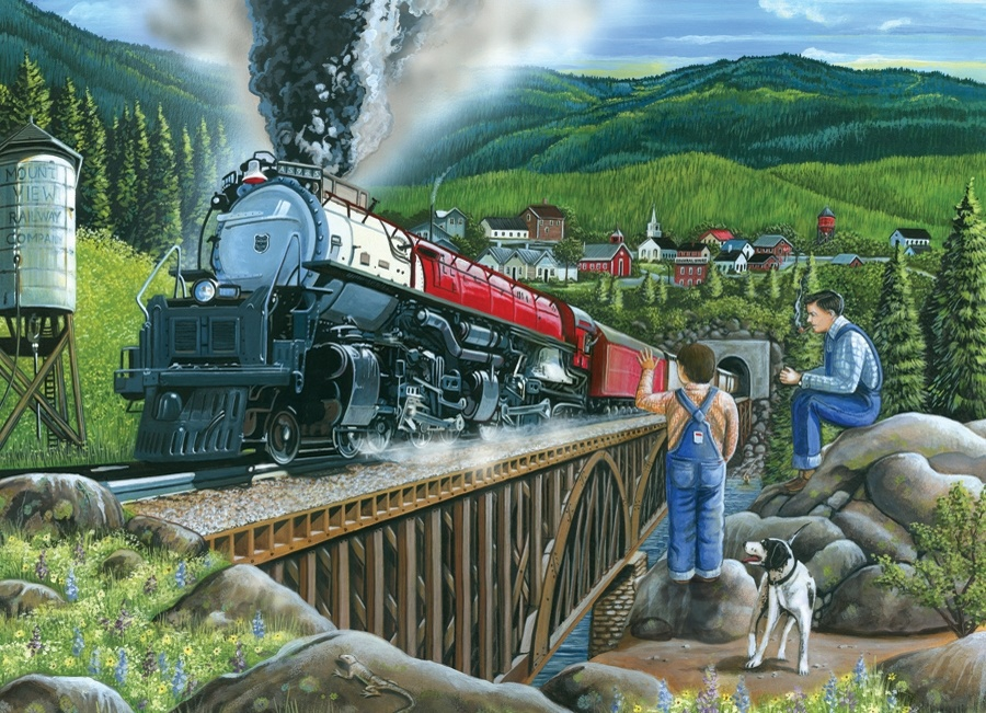Cobble Hill 275 Piece Puzzle Steaming out of town