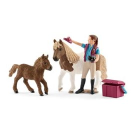 Schleich Stablehand with Shetland Ponies