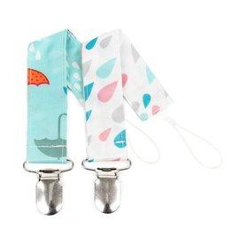 Bumkins Pacifier Clip 2 pack  Raindrops & Umbrella