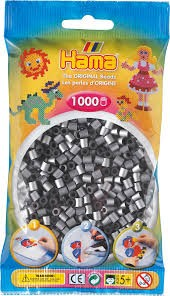Hama Silver 1000 Beads in a Bag