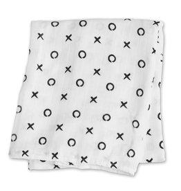Lulujo Bamboo Modern Collection Muslin Blanket Black XO