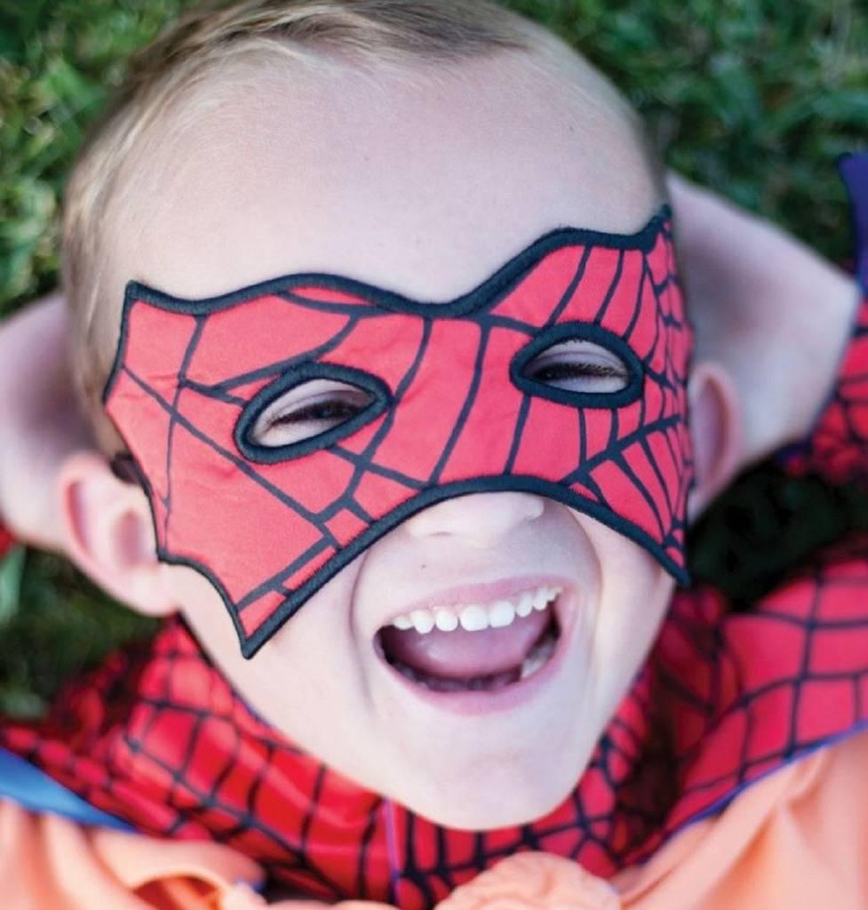 Great Pretenders Reversible Spider/Bat Cape & Mask, Red/Black, Size 4-6