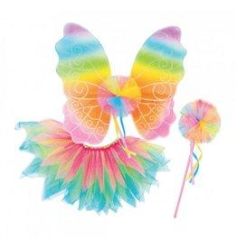 Great Pretenders Neon Rainbow Skirt, Wings, Wand Size 3-6