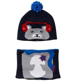 Columbia Snow More™ Beanie and Gaiter Set Infant Collegiate Navy Bear O/S