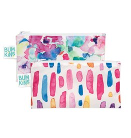 Bumkins Reusable Snack Bag 2 Pack Watercolour Flower