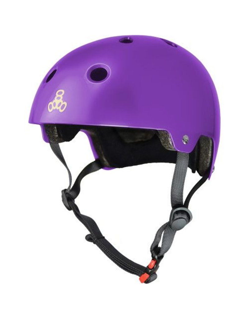 TRIPLE 8 Triple 8 Certified Purple Gloss Skateboard and Bike Helmet