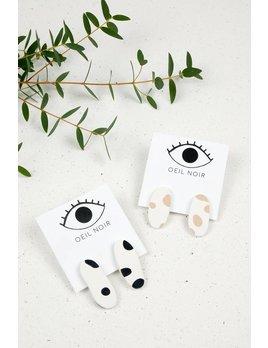 Oeil Noir Boucles D'Oreilles Ovale Beige