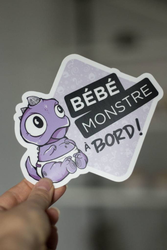 Les Monstres Parfaitement Grincheux Purple Baby Monster Car Sticker