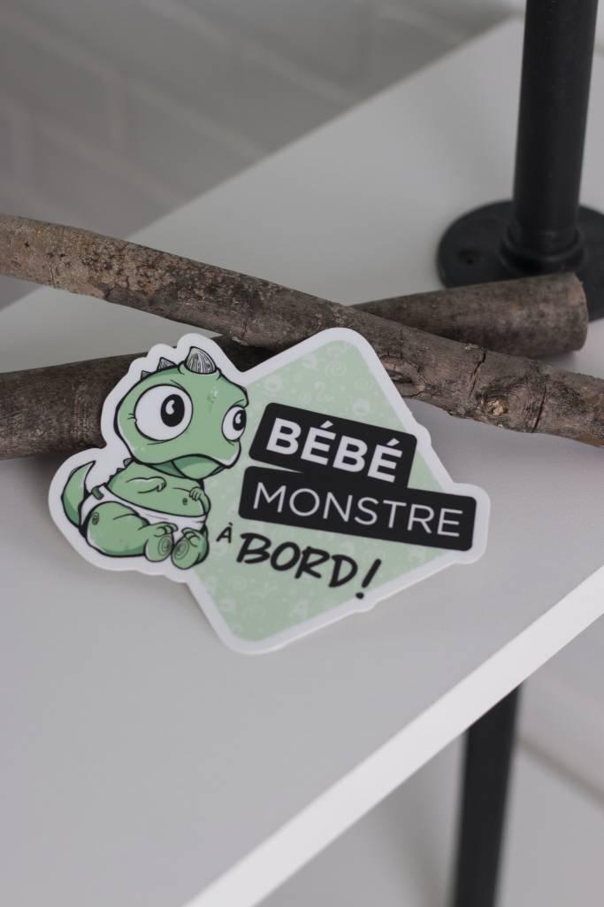 Les Monstres Parfaitement Grincheux Green Baby Monster Car Sticker