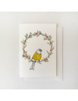 Fla Fla Grosbeak and Wreath Card