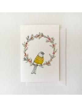 Fla Fla Grosbeak and Wreath Card
