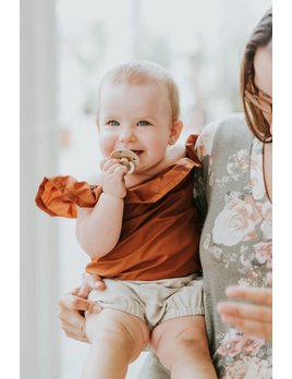 Little Joy by Melissa Lajoie Burnt Orange Ruffle Romper