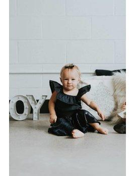 Little Joy by Melissa Lajoie Navy Ruffle Romper