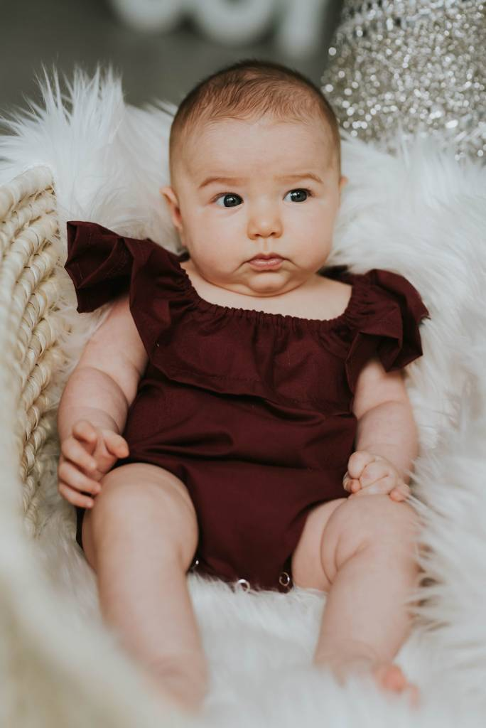 Little Joy by Melissa Lajoie Burgundy Ruffle Romper