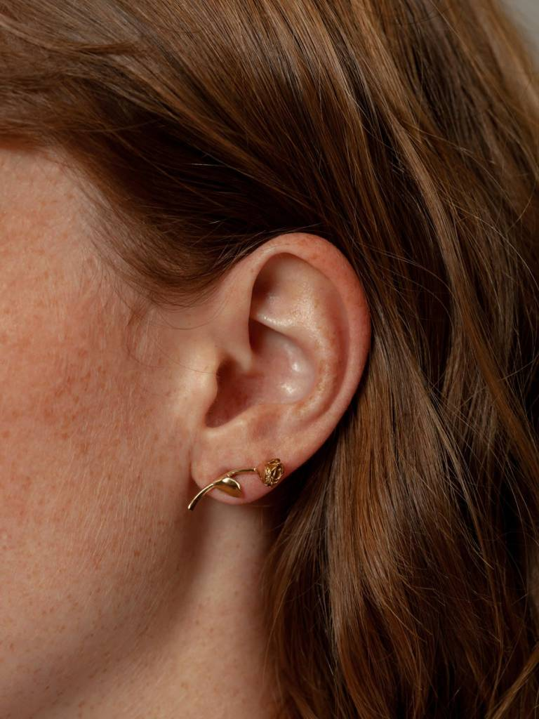 Wolf Circus Rose Earrings in Gold