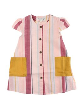 Small Rags Yellow Pockets Striped Dress