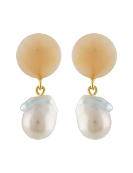 Machete Peach Pearl Drop Earrings