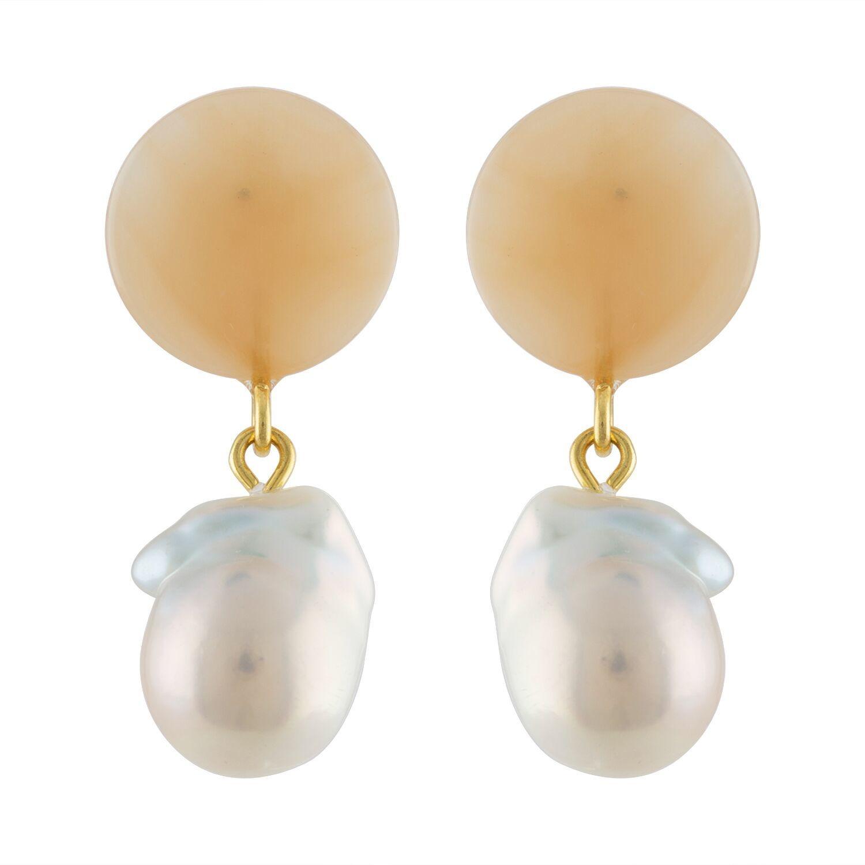 Machete Peach Pearl Drop Earrings