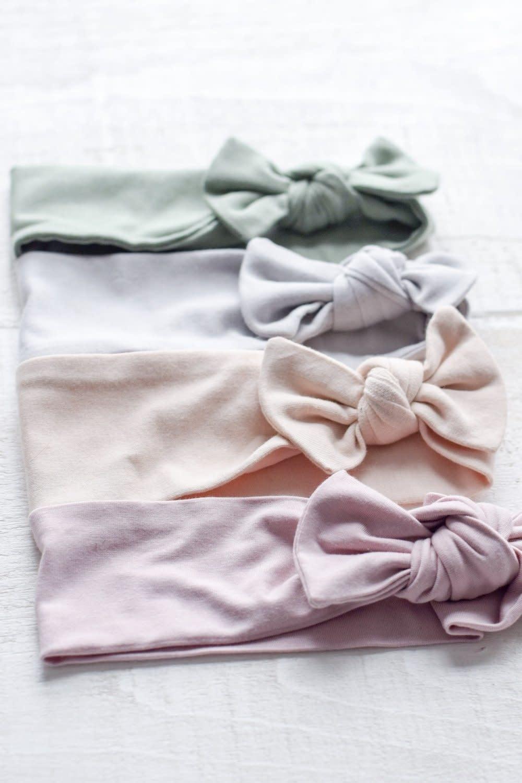 Mini Bretzel Bamboo Bow Headband - Color Choices