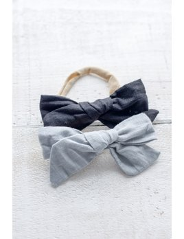 Mini Bretzel Blue and Black Linen Bow Duo