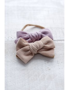 Mini Bretzel Blush and Lilac Corduroy Bow Duo