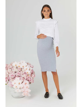 Legoe Grey Ribbed Skirt