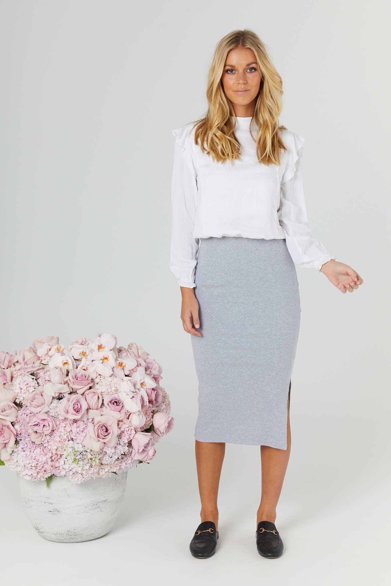 Legoe Grey Ribbed Skirt