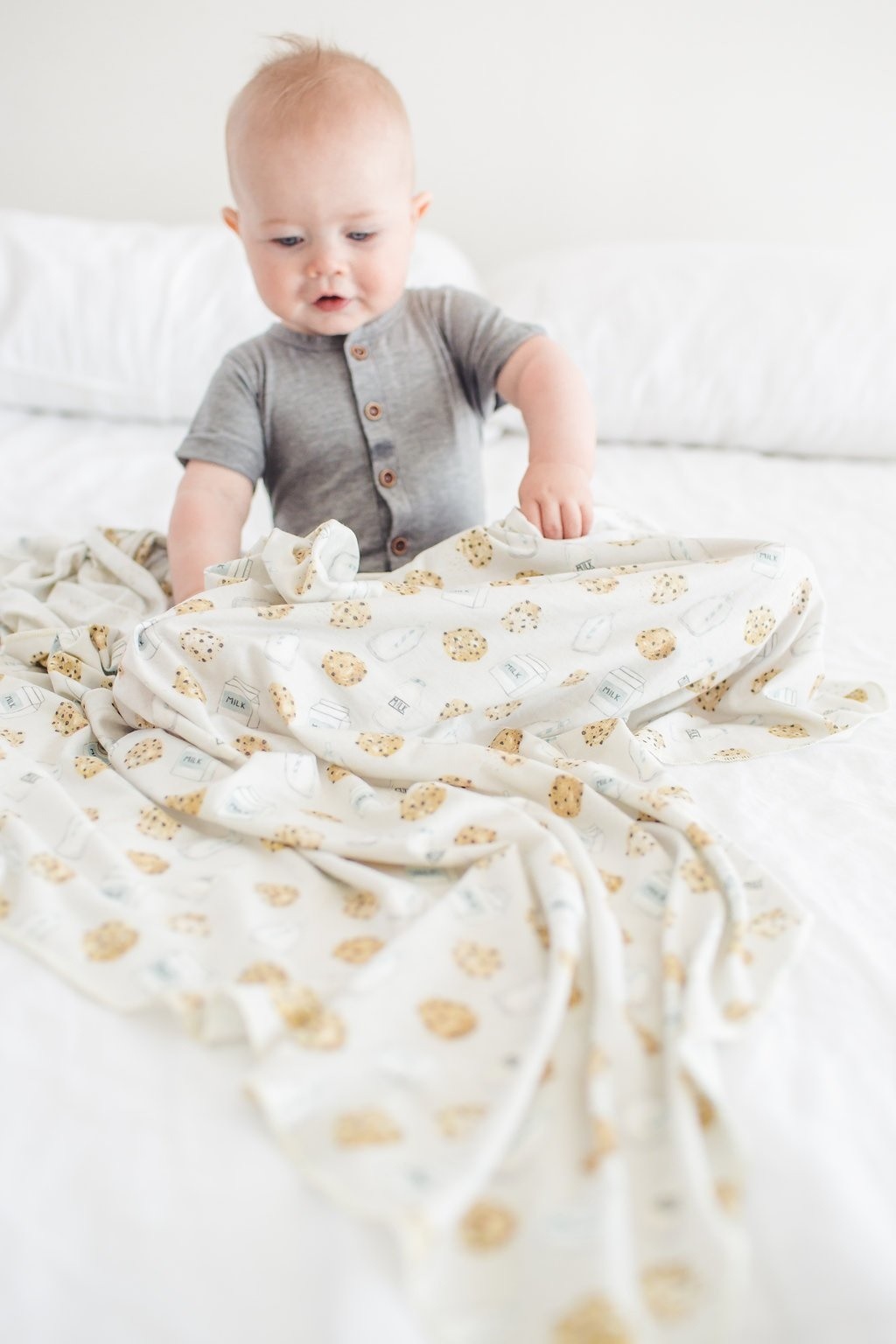 Copper Pearl Milk and Cookies Swaddle Blanket