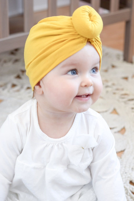 Mini Bretzel Turban Bébé Jaune