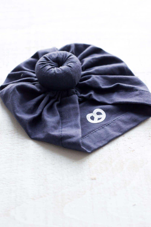 Mini Bretzel Navy Blue Baby Turban