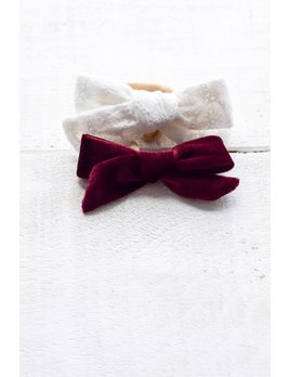 Mini Bretzel Velvet and Lace Bows Set