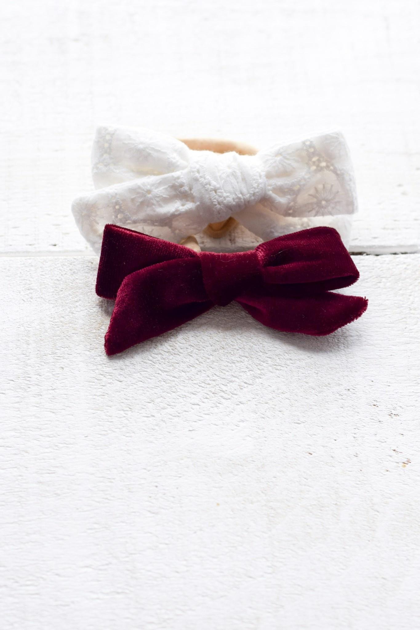 Mini Bretzel Velvet and Lace Bows Set