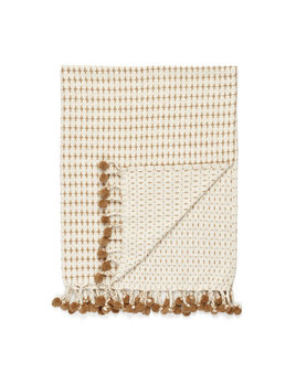 ADV Beige Pompoms Throw