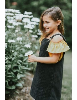 Little Joy by Melissa Lajoie Black Corduroy Overall Dress