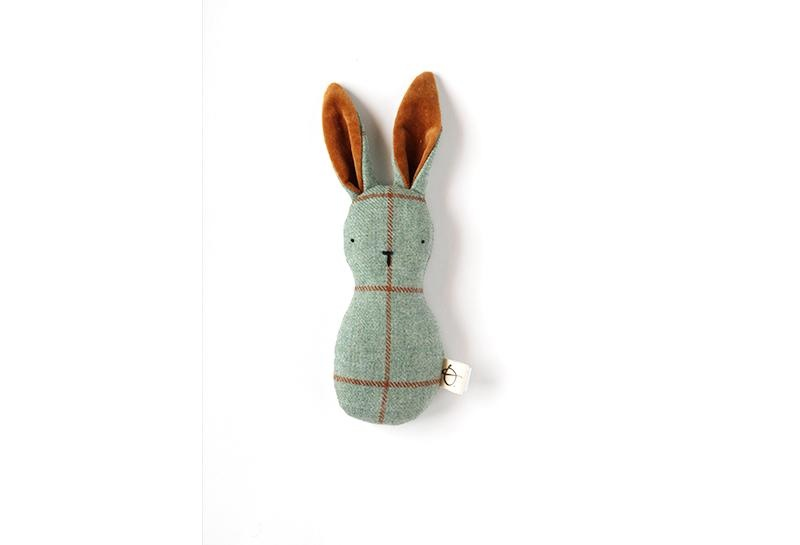 Wool Plaid Bunny Rattle