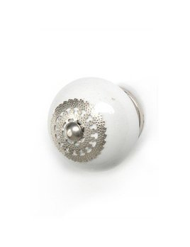 ADV Ceramic Filigree White & Silver Knob