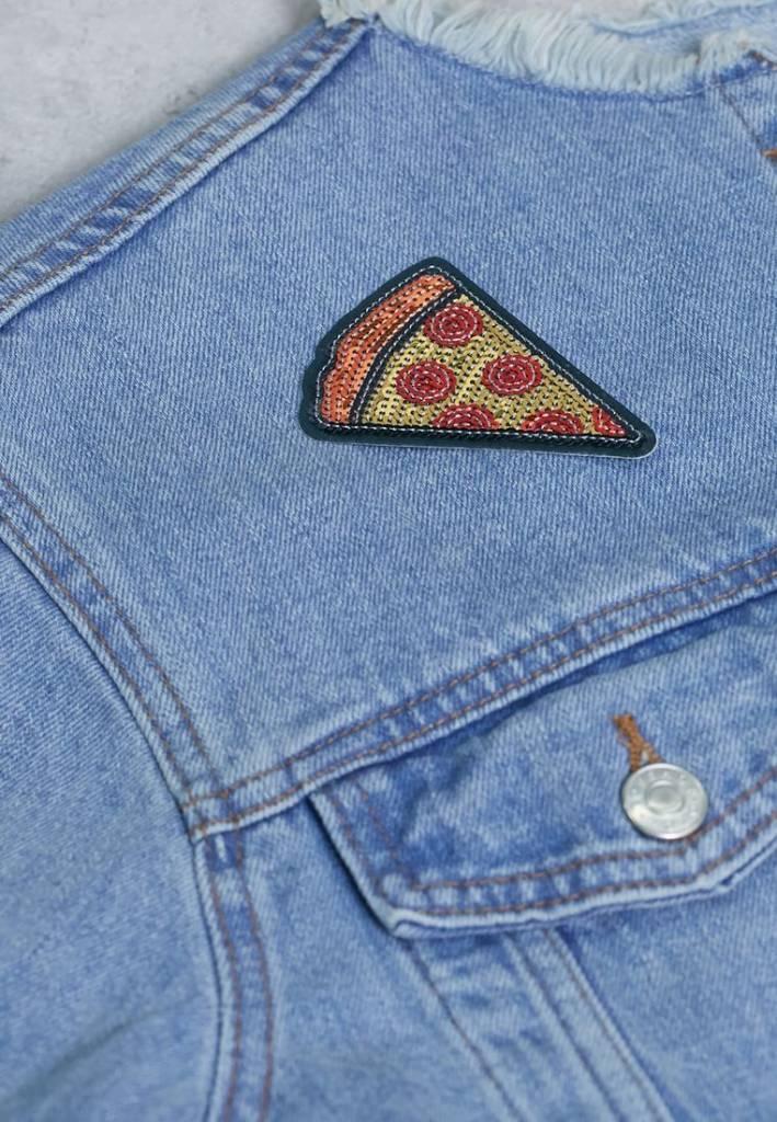 IDecoz Autocollant Broche Pizza Paillettes