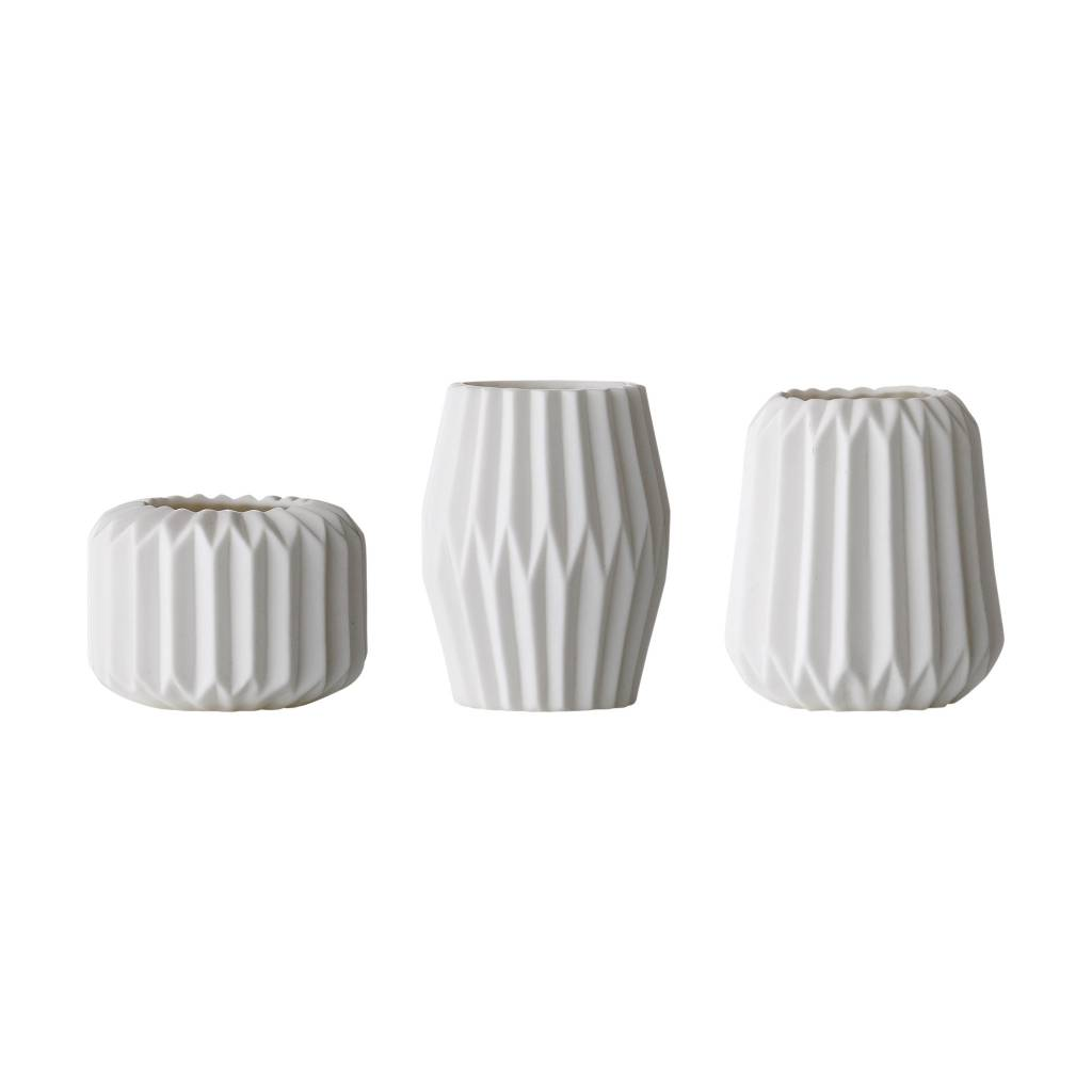 Bloomingville Small Fluted White Vase