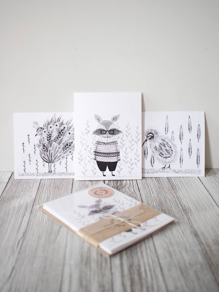 Natasha Prévost Illustrations Cartes de Souhaits Animaux