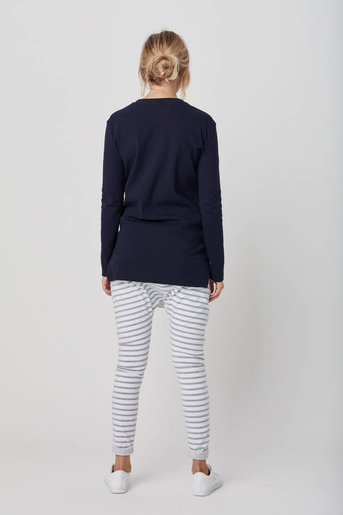 Legoe Grey Stripes Loch Harem Pants