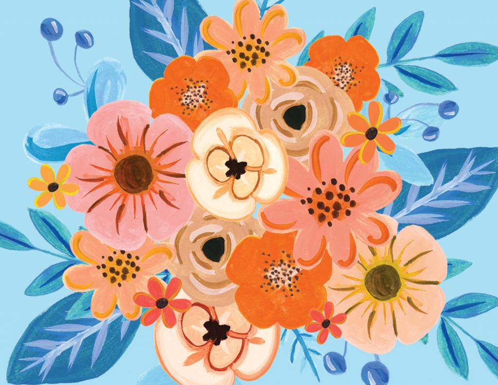 Paige and Willow Flowers & Blues Greeting Card