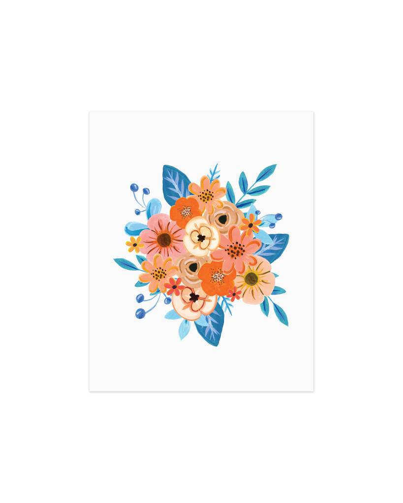 Paige and Willow Orange Blue Flowers Print