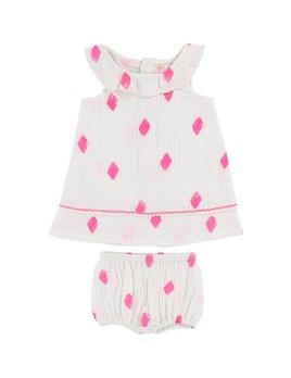 Billie Blush Diamond-Patterned Dress Set