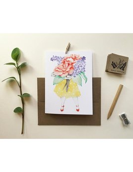Katrinn Pelletier Illustration Roses and Lilac Florist Greeting Card